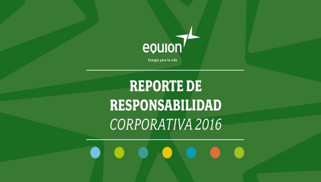 Portada del Reporte de Sotenibilidad de Equion 2016