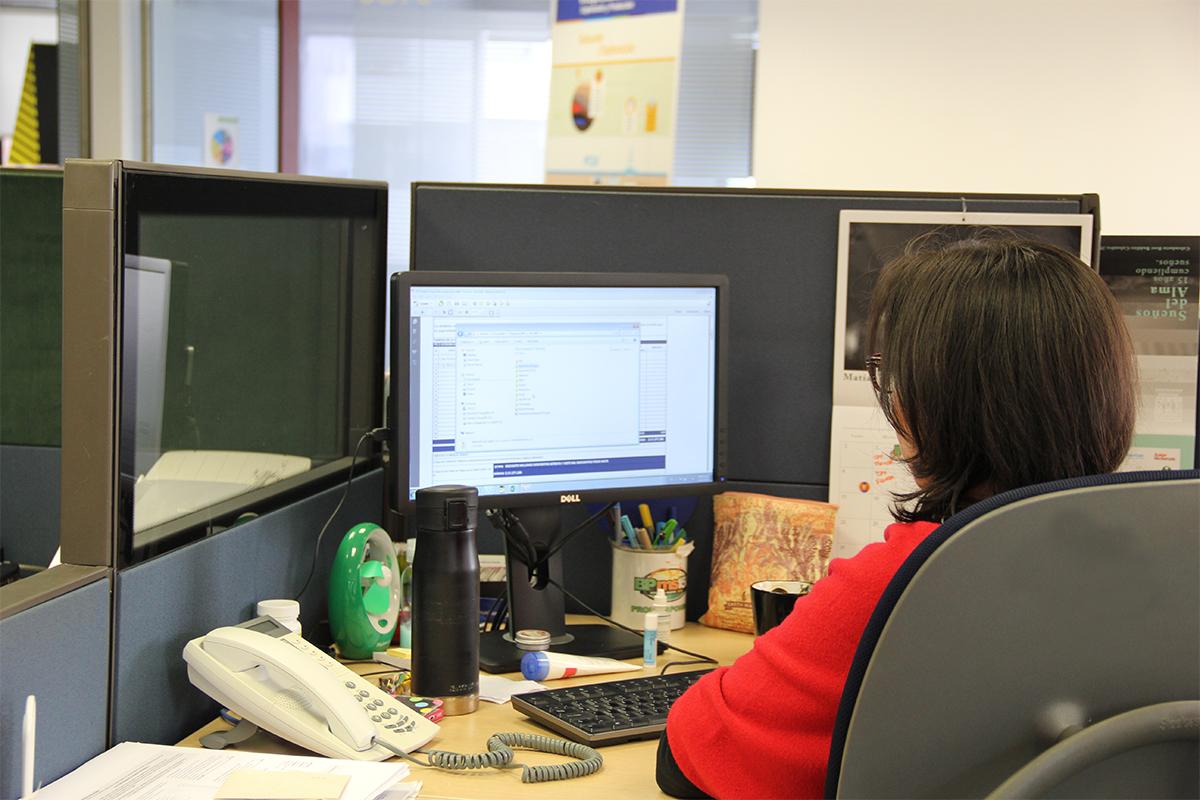 Imagen: Trabajadora de Equión mirando su computador de espaldas a la cámara